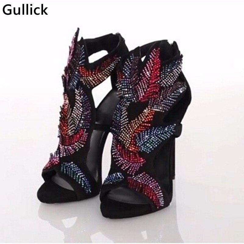 Nouveau Design multicolore cristaux feuille daim sandales dos zip talon découpé Cage chaussures été femme robe de bal chaussure Style Rome
