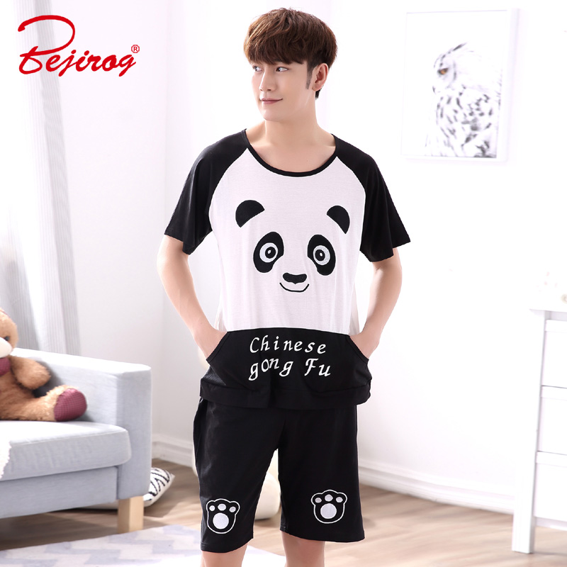 Bejirog Nightwear Men Pajamas Set Cotton Sleepwear Cute Bear Short Sleeved Sleep Clothing Casual Nighties Summer Male Lounge
