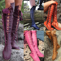 SWYIVY Women's Boots Over The Knee Cross Bandage 2018 Sexy Female High Leisure Boots Flats Autumn New Lady Knight Long Boot 32