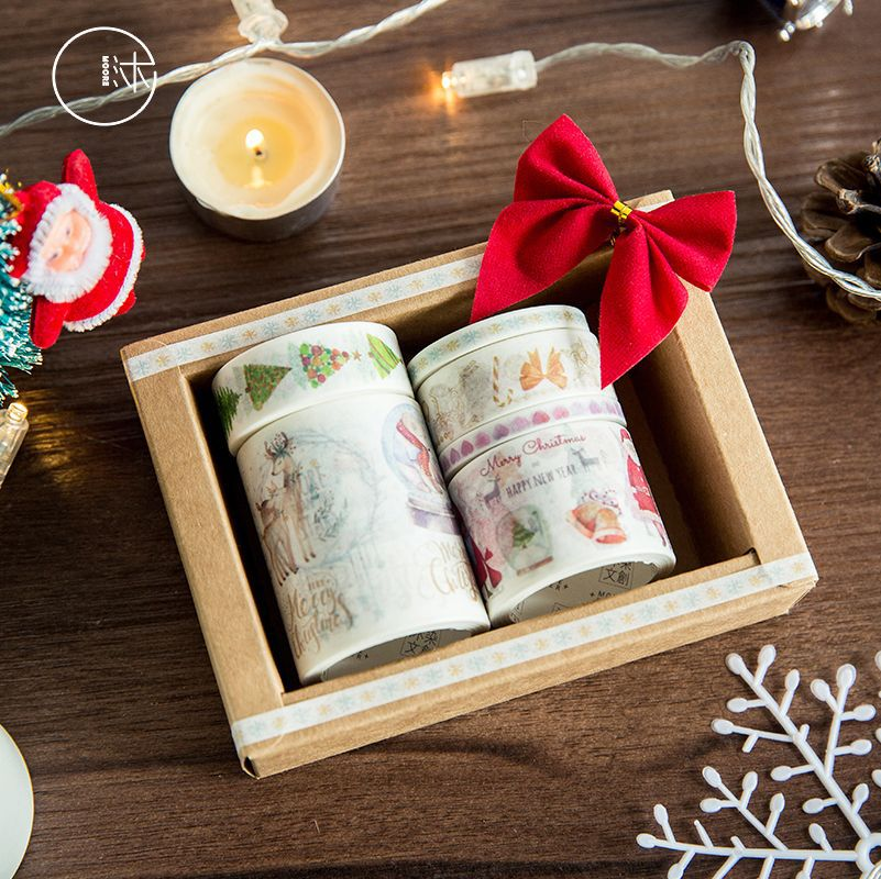 6 set/Lot Merry Christmas gift decoration washi tape Cute ring tree snowman masking tapes stickers scrapbook Stationery F066 merry christmas snowman pattern decorative stair stickers