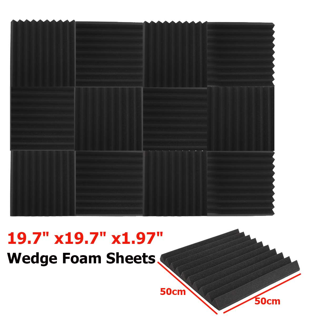 1PC Acoustic Wedge Studio Soundproofing Foam Wall Tiles 50 x 50 x 5 cm Black1PC Acoustic Wedge Studio Soundproofing Foam Wall Tiles 50 x 50 x 5 cm Black