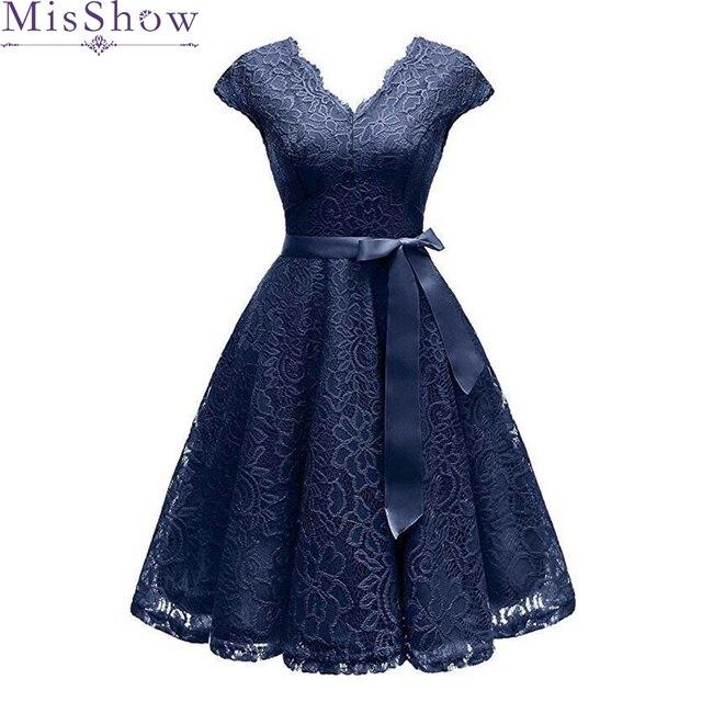 f7234a57846 Robes de Cocktail bleu marine col en V profond petite robe noire sans  manches en dentelle robe de retour robe formelle robe de bal courte