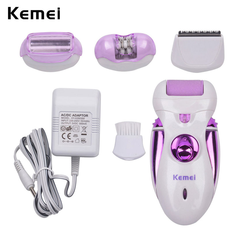 4 in 1 Rechargeable Women Epilator Hair Shaver Electric Feet Hard Dead Skin Callus Remover Pedicure Personal Care Tools 4041 2pcs lot electric callus remover for skin jml pedi pro deluxe electronic personal pedicure bullet pedipro wholesale hot sale