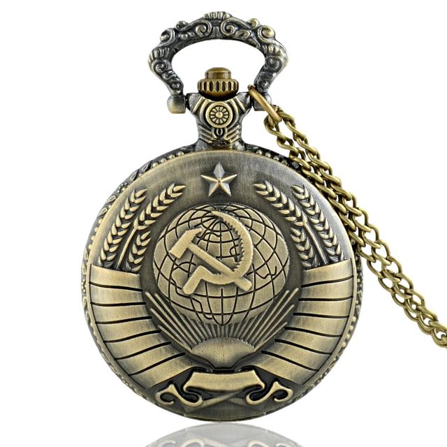 Vintage USSR Soviet Badges Sickle Hammer Pocket Watch Necklace Bronze Pendant Ch
