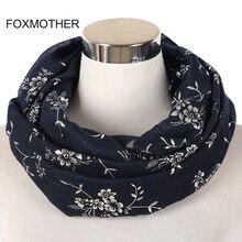цена FOXMOTHER New Fashion Navy Grey Black Foil Sliver Floral Scarf Ring Snood Glitter Foulard Shawl Hijab Scarves Women Ladies онлайн в 2017 году