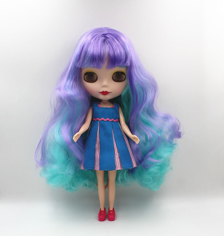 Free Shipping big discount RBL-457M DIY Nude Blyth doll birthday gift for girl 4colour big eye doll with beautiful Hair cute toy free shipping nude blyth doll black4 hair big eye doll for girl s gift pjb004