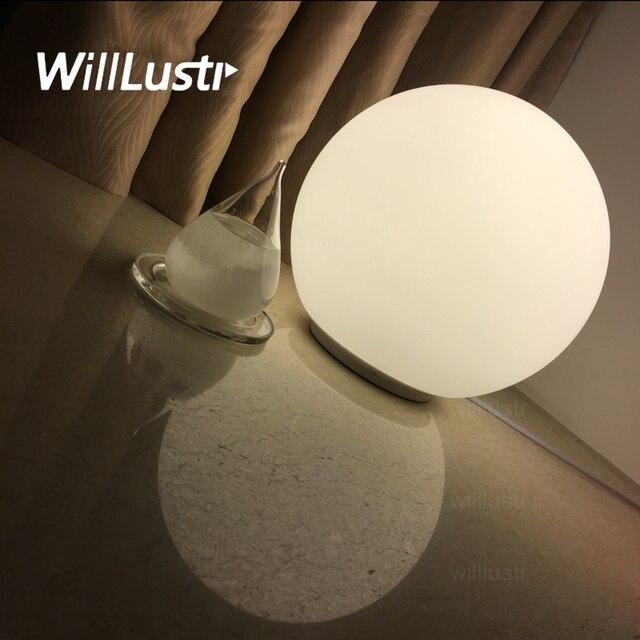 Modern Table Lamp Round 14cm 25cm Globe Table Lighting Frosted Milk White  Glass Lampshade Desk Light