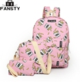 2016 Summer New Fashion Women Canvas Backpack Female Printing Students Bag Preppy College School Bag with Two Purse rucksack