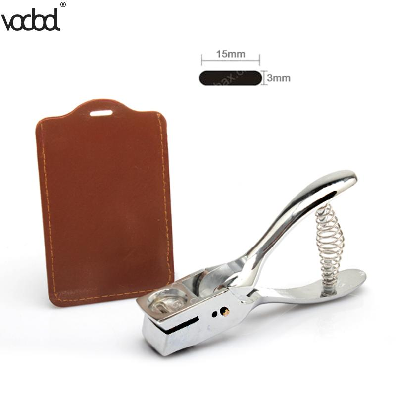 Puncher Silver ID Card Badge Slot Punch Metal Handheld Slot Hole Punch Puncher Card Photo Badges Hole Punch Tag Tool Office Kit