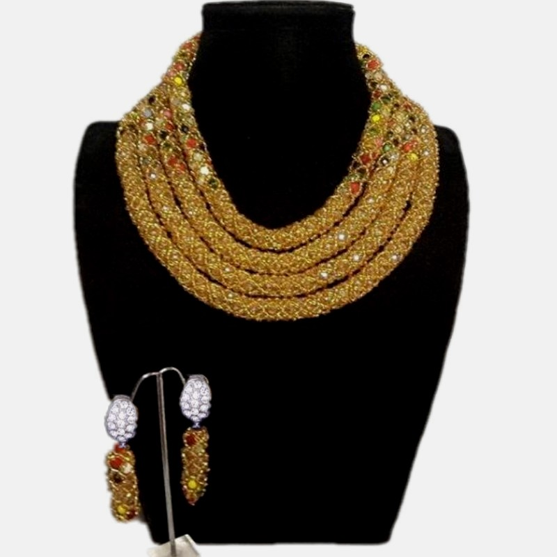 Bridal Wedding Jewelry Set 4 Layers African Gold Jewelry Sets For Women With Mix Color Indian Necklace Set Beads Free Shipping free shipping china manufacturer sell jewelry set italian gold color jewelry sets bridal elegant jewelry set