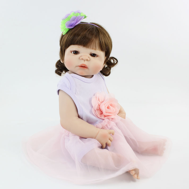55cm Full Silicone Baby-Reborn Doll Toy Vinyl Newborn Princess Babies Girl Bonecas Bebe Doll Alive Bathe Toy Kids Birthday Gift