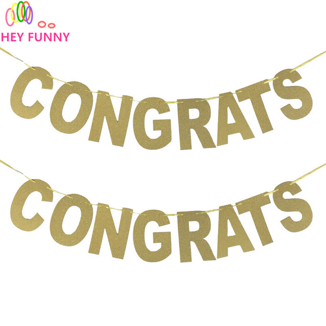 hey funny congrats banners glitter letters paper festive party