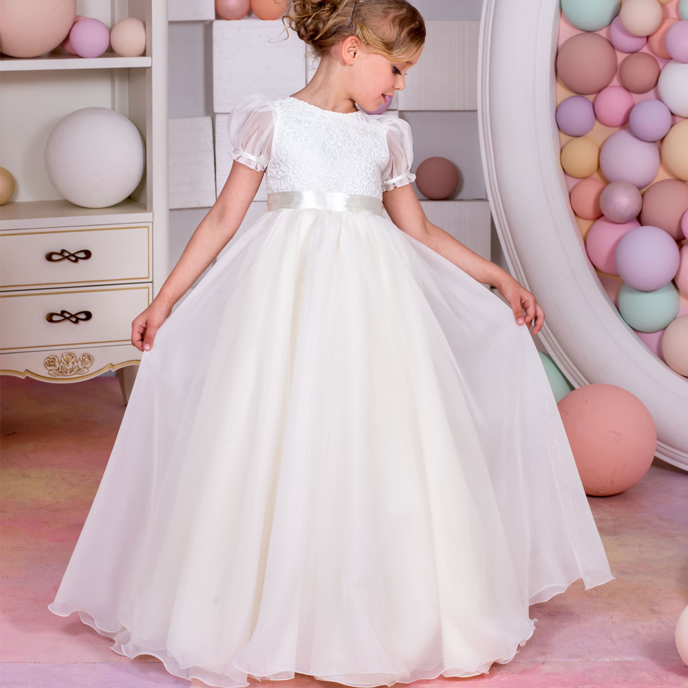 ФОТО 2017 New Pageant Ball Gowns for Girls	Puff Short Sleeves Ruffles Ball Gown O-neck Formal Flower Girl First Communion Dresses Hot