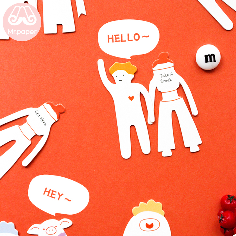 Mr Paper 4pcs/box Cartoon  Bookmarks For Novelty Book Reading Maker Page Creative Paper Bookmarks