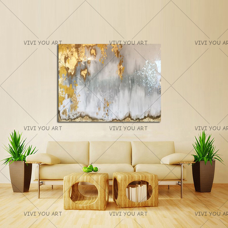 Abstract Gold Leaf Art with Gray and White Ombre Pictures 100% Handmade White and Silver Chandelier Canvas Oil Paintings rustica mini noce slate 12 in x 12 in x 8 mm porcelain mosaic tile backsplash images