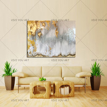 Abstract Gold Leaf Art with Gray and White Ombre Pictures 100% Handmade White and Silver Chandelier Canvas Oil Paintings(China)