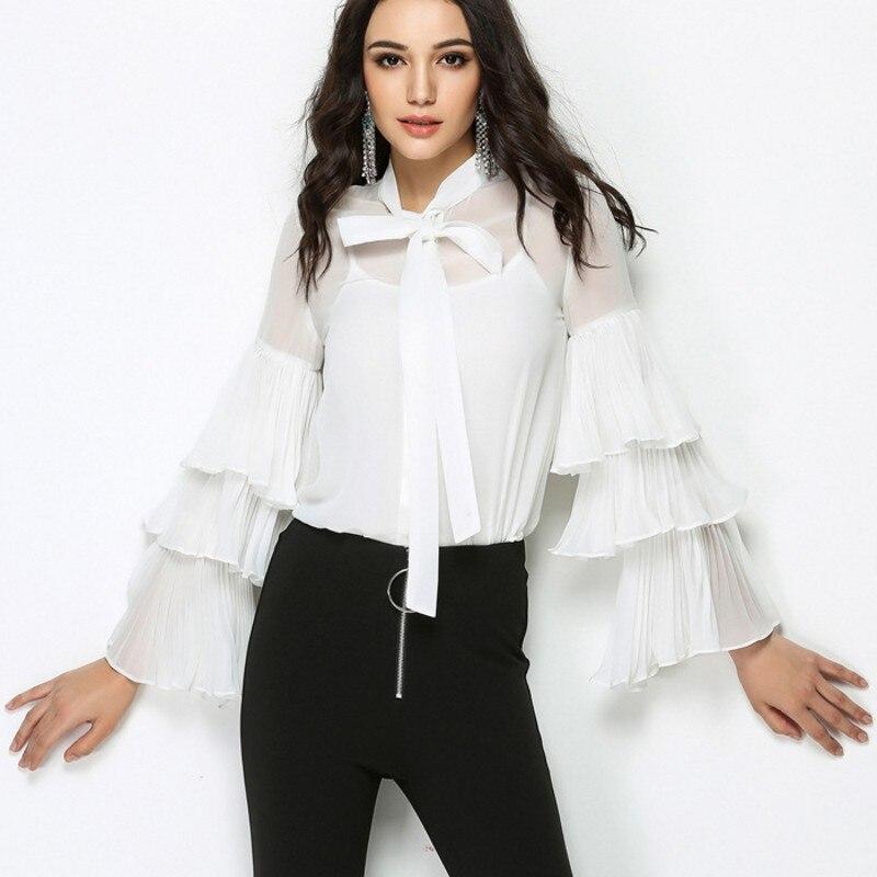 Chemises Blanc De White Affaires Cravate Dames Manches Longues Bureau Tops Femelle Fit Bowknot Chemisier Ruches Femmes Travail À Lâche Sexy Transparent wRXqq6O