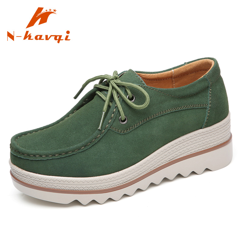 NKAVQI Spring Women Flat Platform Shoes   Suede     Leather   Loafers Lace up Leisure Shoes Women Moccasins Ladies Creepers Casual Flats