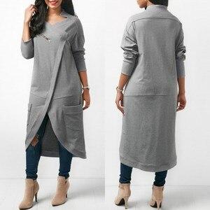 Image 1 - ZANZEA 2020 Asymmetrical Hoodies Dress Womens Sweatshirts Autumn Casual Long Sleeve Pullovers Zipper Midi Vestidos Plus Size