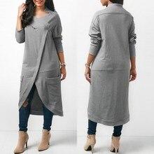ZANZEA 2020 asimetrik Hoodies elbise kadın tişörtü sonbahar rahat uzun kollu kazak fermuar Midi Vestidos artı boyutu