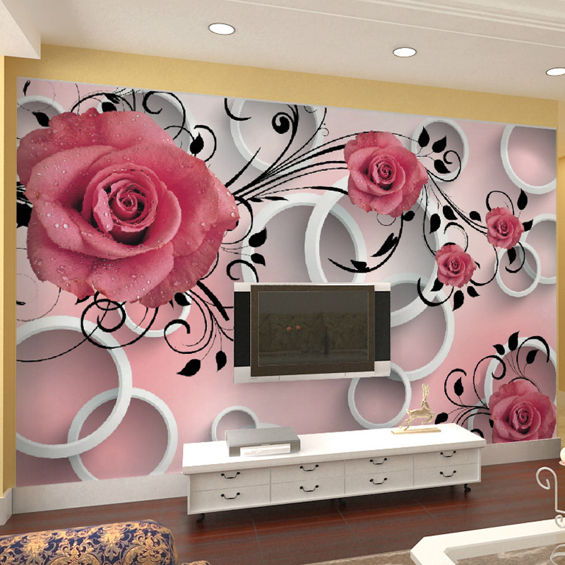 beibehang 3D wallpaper rose pattern living room sofa custom murals TV for walls 3 d wallpaper papel de parede para paredes beibehang custom marble pattern parquet papel de parede 3d photo mural wallpaper for walls 3 d living room bathroom wall paper