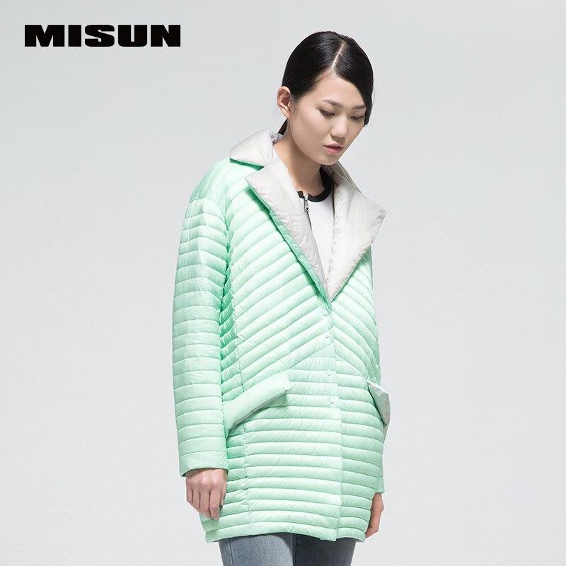 New arrival misun2016 thin soft medium-long   down     coat   female fashion color block patchwork
