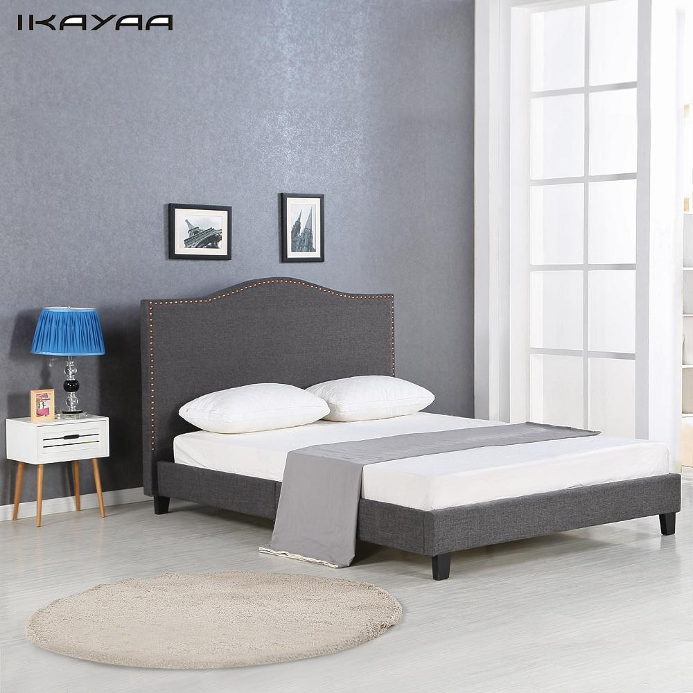ikayaa antique fullqueen sized tufted linen wingback bed frame with wood slats sponge padded - Low Queen Bed Frame