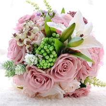 Buy pink lily wedding bouquets and get free shipping on AliExpress.com