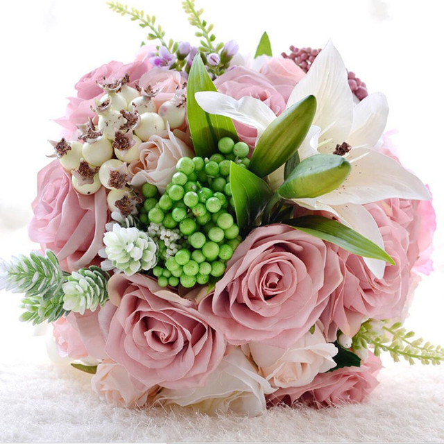 Gorgeous Artificial Pink Rose Flowers White Lily Wedding Bouquets ...