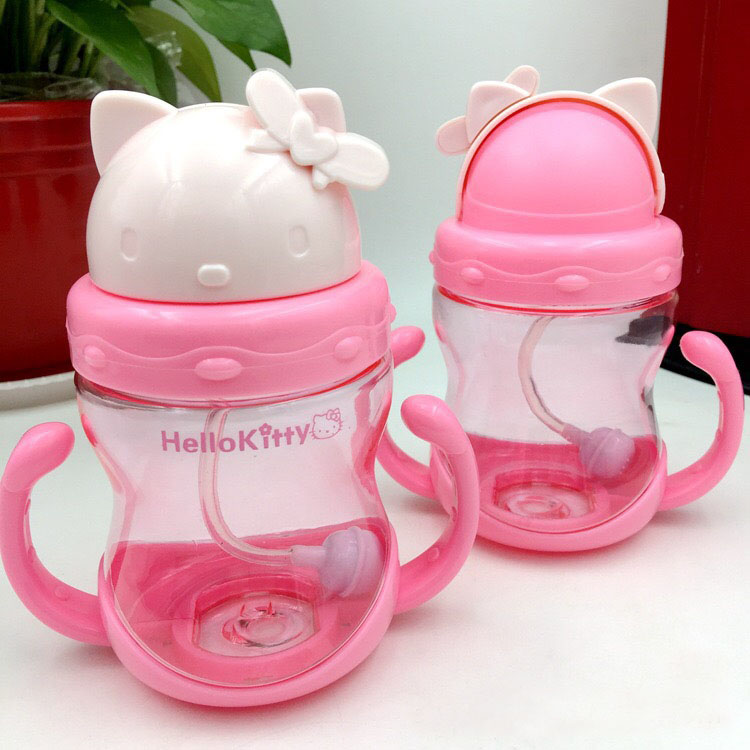 Hellokitty Cartoon Baby Cup Feeding Water Bottle Cute Pink Ears Glass Kettle Leak Proof Children Small Pot Straw Cup Gift Box
