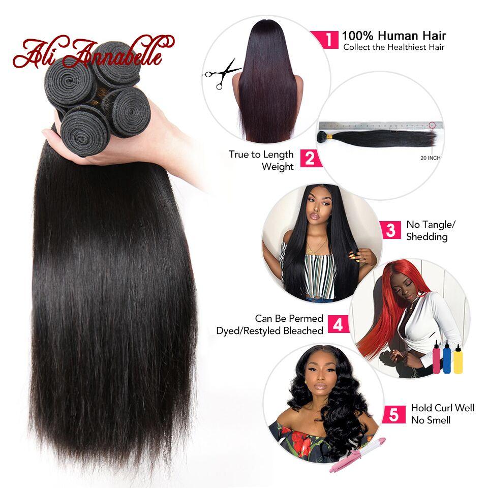 HTB1eM6MXSSD3KVjSZFKq6z10VXaI ALI ANNABELLE HAIR Straight Hair Bundles with Closure 100% Remy Human Hair Bundles with Closure Brazilian Hair Weave Bundles