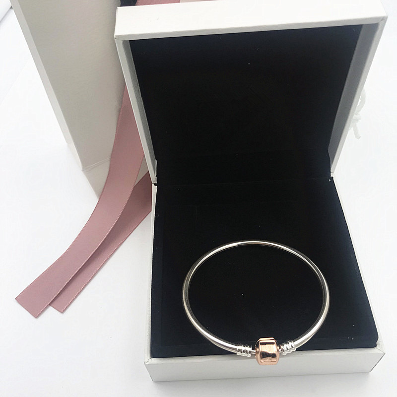 NEW! Perfect logo Charm Engraved S925 Silver bangle pandoras rose bracelet DIY women party jewely fashion With Rose Clasp,1pz искусственные цветы для дома weijing 1 51 25 diy 1 51 rose craft