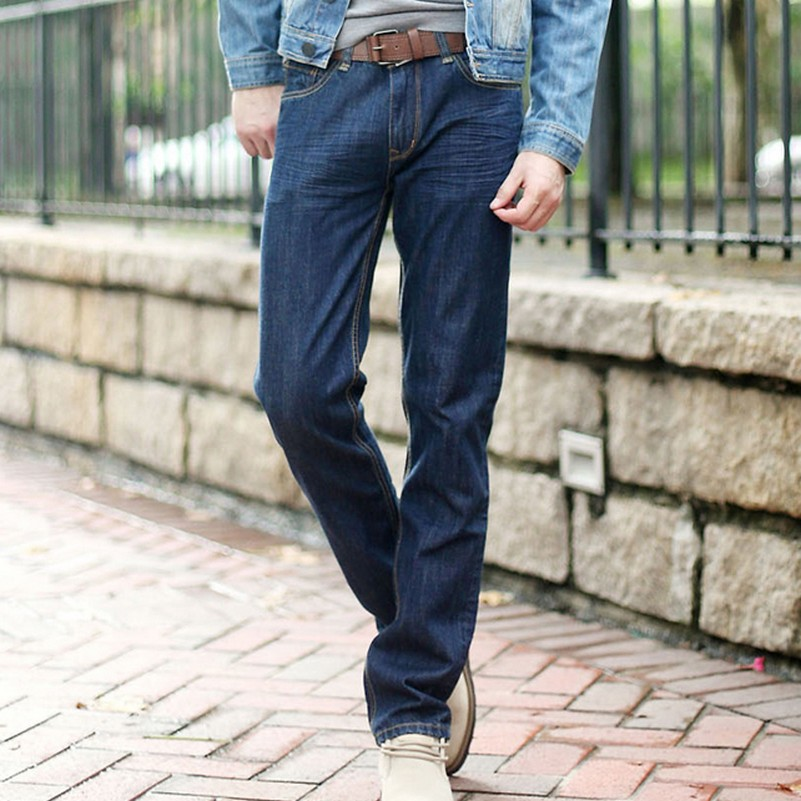 Loose Leisure Business Plus Size Jeans for Men Autumn New Casual Solid Color Vintage Male Denim Pants Straight Plus Size Jeans afs jeep autumn jeans mens straight denim trousers loose plus size 42 cowboy jeans male man clothing men casual botton