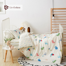 Liv-Esthete 2019 New 100% Cotton Cute Dinosaur Kids Cartoon Bedding Set Duvet Cover Pillowcase Bed Linen 3Pcs For Mom Baby