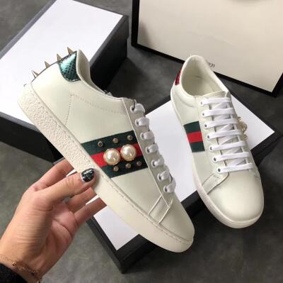 Men's White Snake New Sneakers Embroidered Bee Tiger Leather Web Flats Shoes Pearl Studded Glitter Metallic Acee Trainers