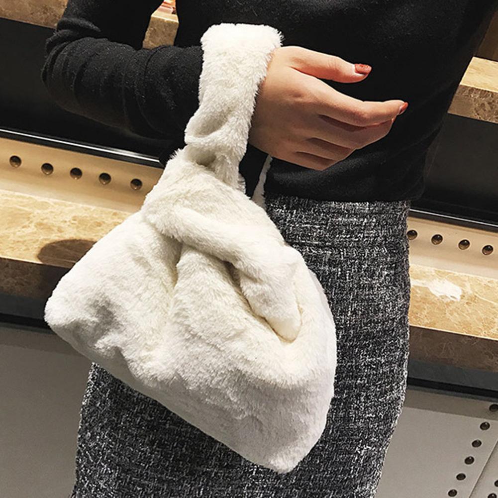 Fashion Solid Color Plush Women Handbag Leisure Purse Phone Holder Clutch Bag Winter Fur Travel Bag Large Capacity Soft Handbag