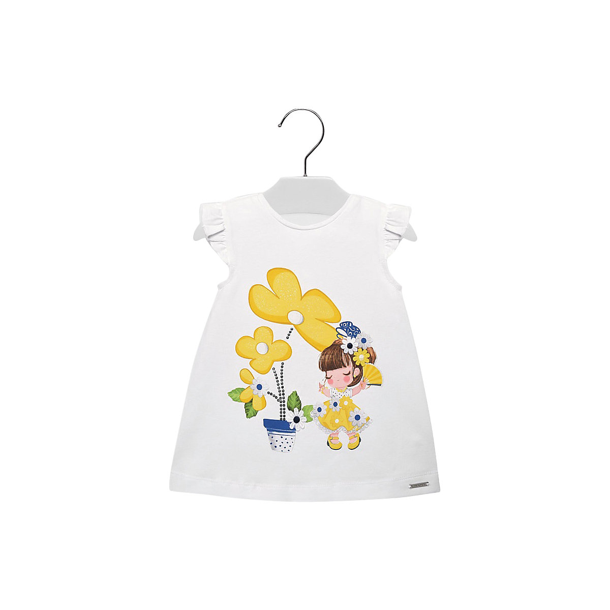 MAYORAL Dresses 10687154 Girl Children fitted pleated skirt Yellow Cotton Casual Floral Knee-Length Sleeveless Sleeve white tube top and floral print pleated hem skirt co ord