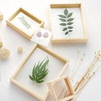 Деревянная двухсторонняя стеклянная рамка DIY Простые образцы растений, альбом для свадебной вечеринки, украшение для рабочего стола, фотор...