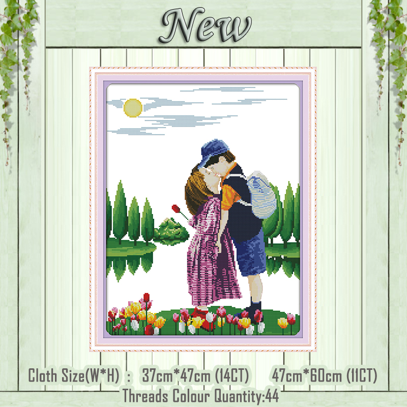 Home & Garden Kiss Lovers Boy Home Decor Painting Counted Printed On Canvas Dmc 14ct 11ct Chinese Cross Stitch Needlework Sets Embroidery Kits