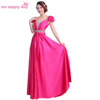 2019 new arrival women's a line floor length satin plus size fitted evening gowns dresses fuchsia beaded long gown dress H3148