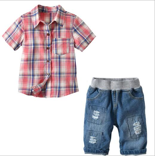 2018 Summer Baby Boy Casual suit shirt + Denim shorts 2pcs Short sleeve T-shirt boys pants kids clothes children's clothing set new 2018 spring fashion baby boy clothes gentleman suit short sleeve stitching plaid vest and tie t shirt pants clothing set