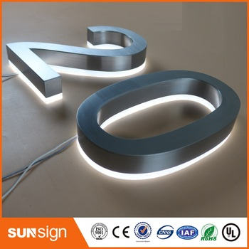 H25cm One Letter Factory Outlet 25cm High 304 Stainless Steel Backlit Led House Number Signs