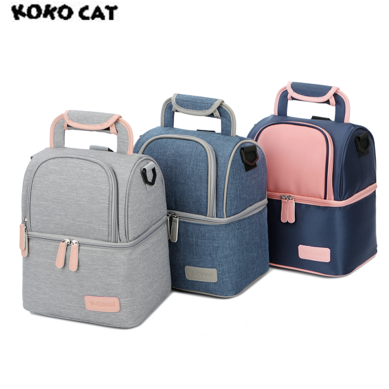 High Quality Double Layer Fashion Portable Lunch Bag Food Cooler Picnic Bags for Women Thermal Lunch Box Kids Milk Bag 3 Colors denim lunch bag kid bento box insulated pack picnic drink food thermal ice cooler leisure accessories supplies product