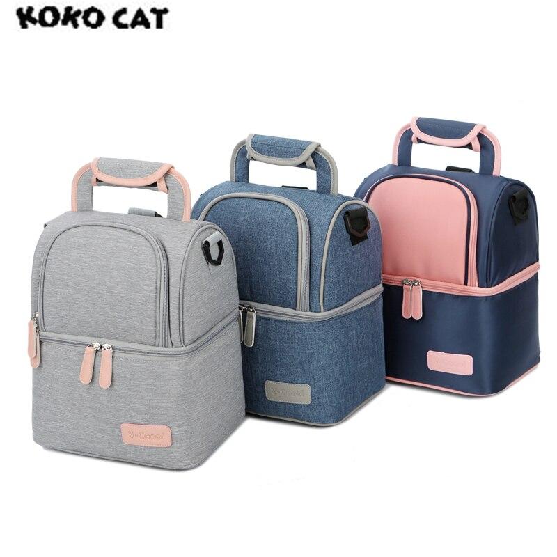 Hohe Qualität Doppel Schicht Mode Tragbare Mittagessen Tasche Lebensmittel Kühler Picknick Taschen für Frauen Thermische Mittagessen Box Kinder Milch Tasche 3 farben