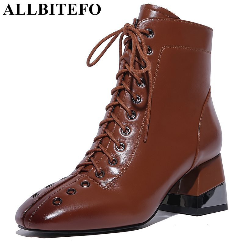 ALLBITEFO large size:34-43 genuine leather square toe thick heel women boots brand medium heel martin boots winter boots new arrival superstar genuine leather chelsea boots women round toe solid thick heel runway model nude zipper mid calf boots l63