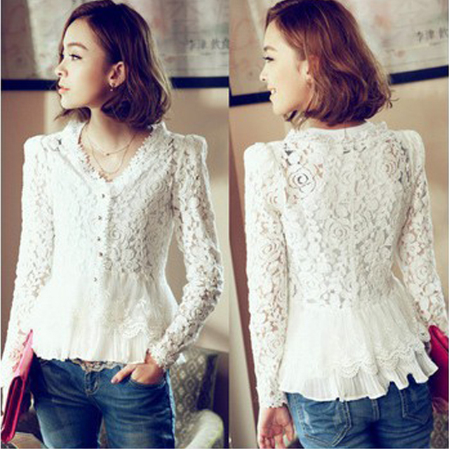 Hot Selling White Women's Lace Blouse Fashion V Neck Chiffon Patchwork Women Shirts And Blouses Blusa Long Sleeve Tops For Women