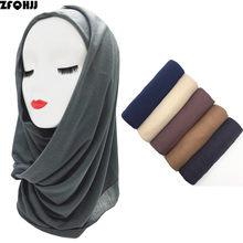 f61655205906 ZFQHJJ 10 pcs lot Doux Modal Coton Plaine Jersey Simple Arabe Musulman  Femmes L islam Tête Wraps Hijab Écharpe En Gros Foulards .