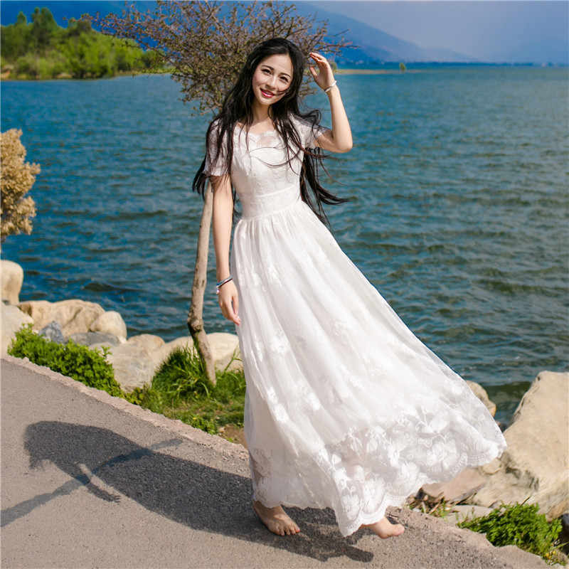 7f57dcc123 White Lace Crochet Dress Women Beach Wear 2019 Vintage O Neck Short Sleeve  Embroidery Hollow Out