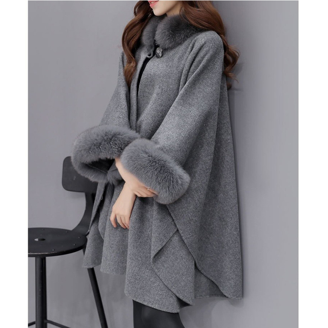 Bigsweety 2018 Winter Womens Cloak Big Fur Collar Plus Size Wool Coat Long Winter Jackets Parka Coats Outerwear 5