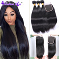HOT11.11 Indian Virgin Hair with Closure Indian Virgin Hair Straight 100% Unprocessed Remy Human Hair Bundles Hair Weave Bundles